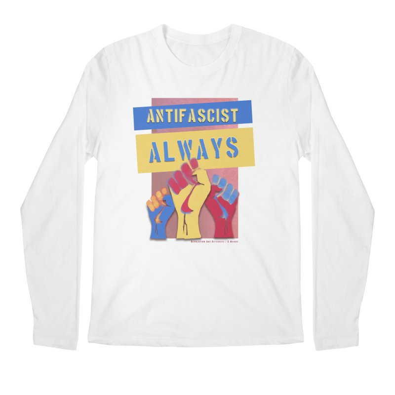 Antifascist Always: English Men's Longsleeve T-Shirt by Revolution Art Offensive