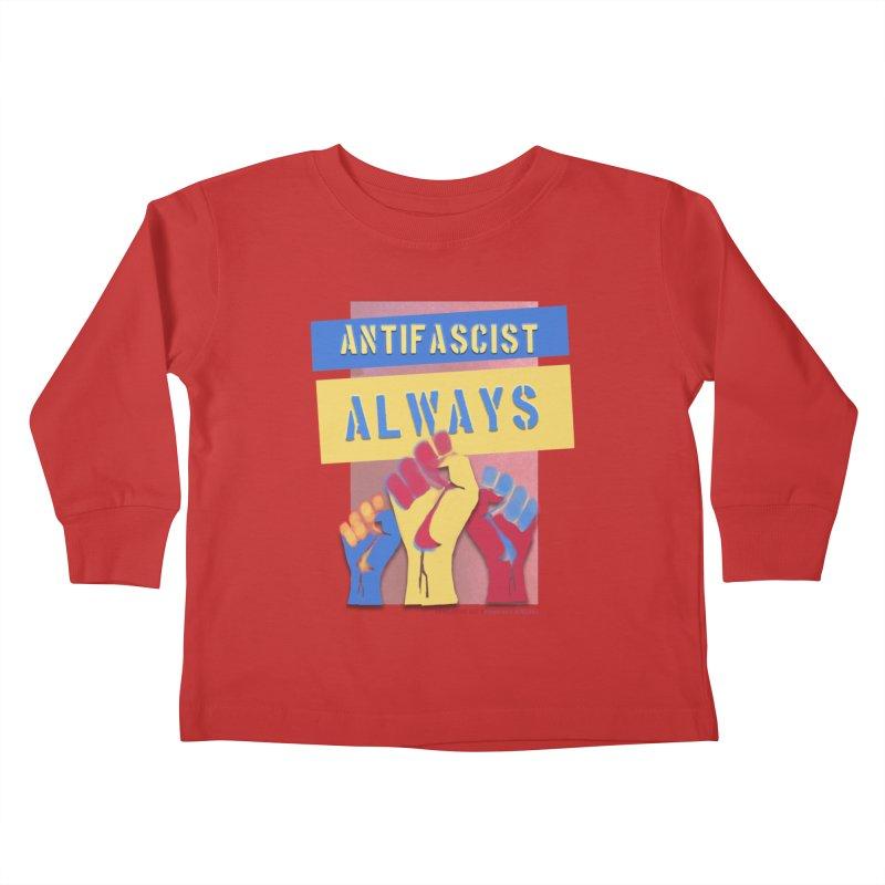 Antifascist Always: English Kids Toddler Longsleeve T-Shirt by Revolution Art Offensive