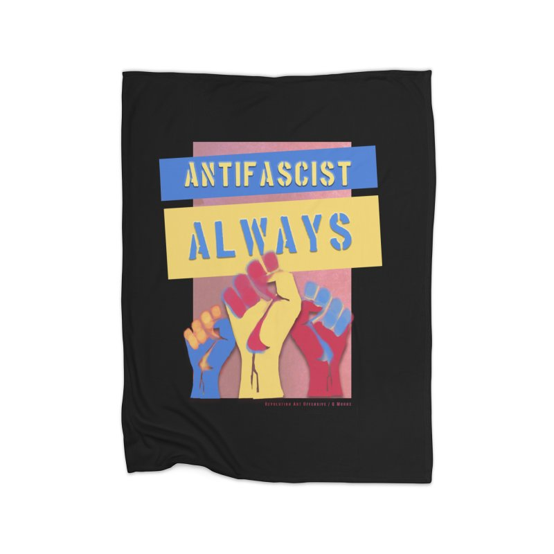 Antifascist Always: English Home Blanket by Revolution Art Offensive