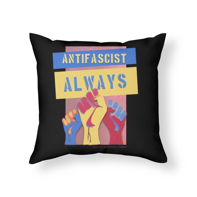 Antifascist Always: English Home Throw Pillow by Revolution Art Offensive