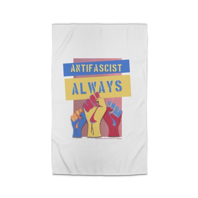 Antifascist Always: English Home Rug by Revolution Art Offensive