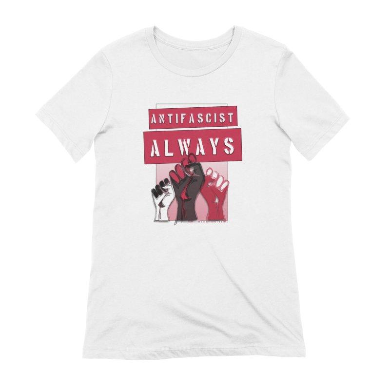 Antifascist Always Red English Women's Extra Soft T-Shirt by Revolution Art Offensive