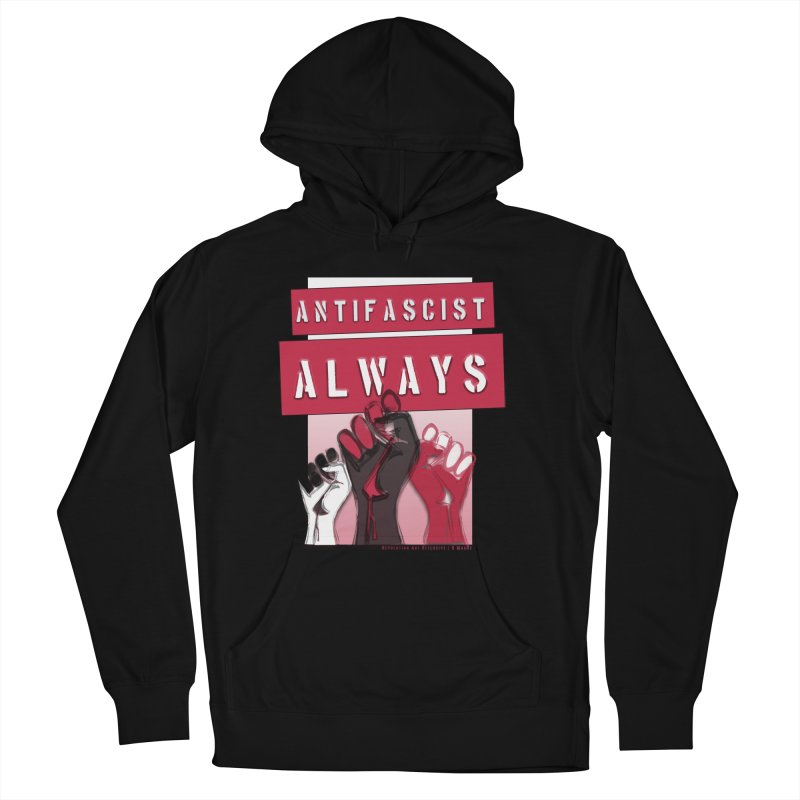 Antifascist Always Red English in Men's French Terry Pullover Hoody Black by Revolution Art Offensive