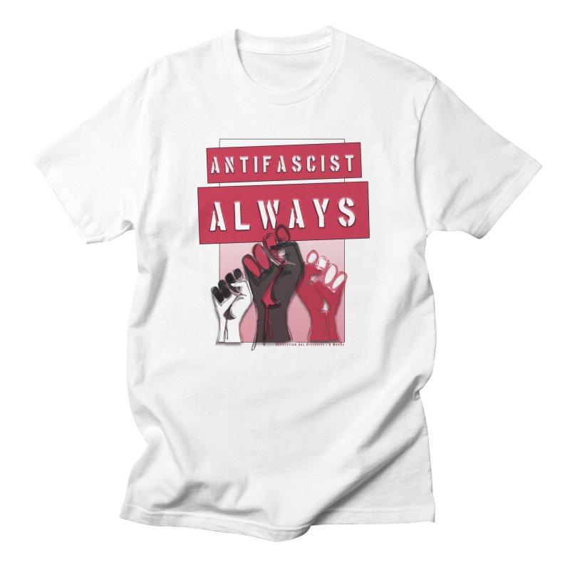 Antifascist Always Red English Women's Regular Unisex T-Shirt by Revolution Art Offensive