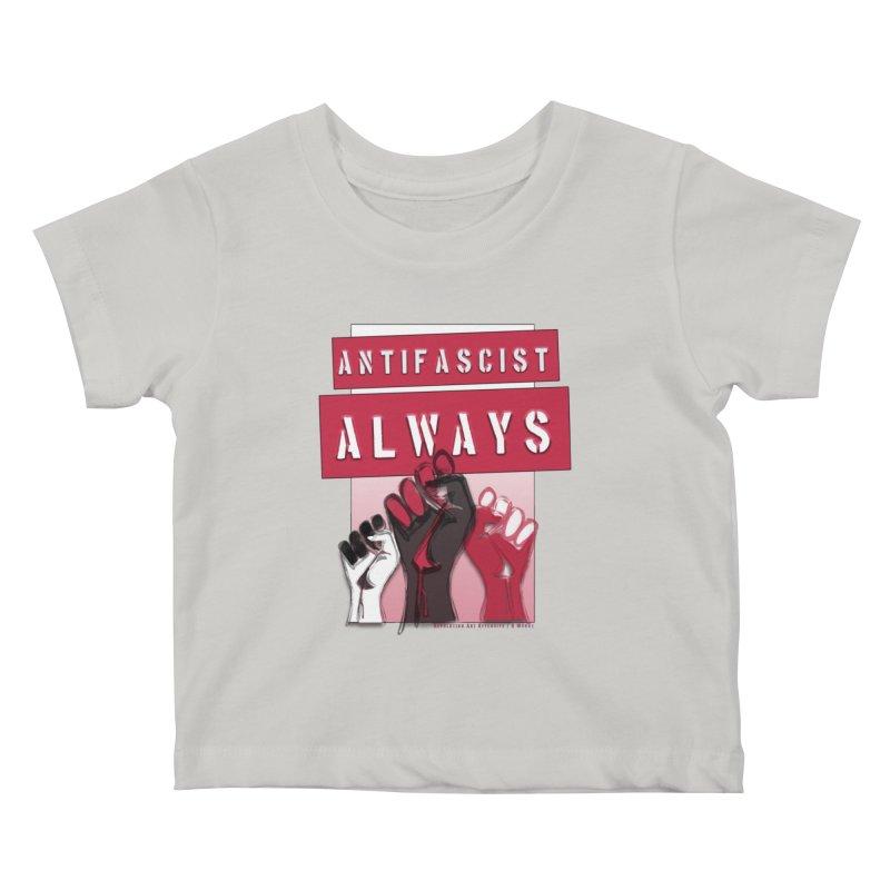 Antifascist Always Red English Kids Baby T-Shirt by Revolution Art Offensive