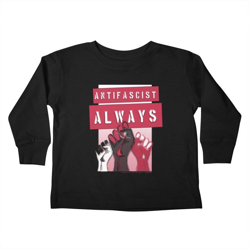 Antifascist Always Red English Kids Toddler Longsleeve T-Shirt by Revolution Art Offensive