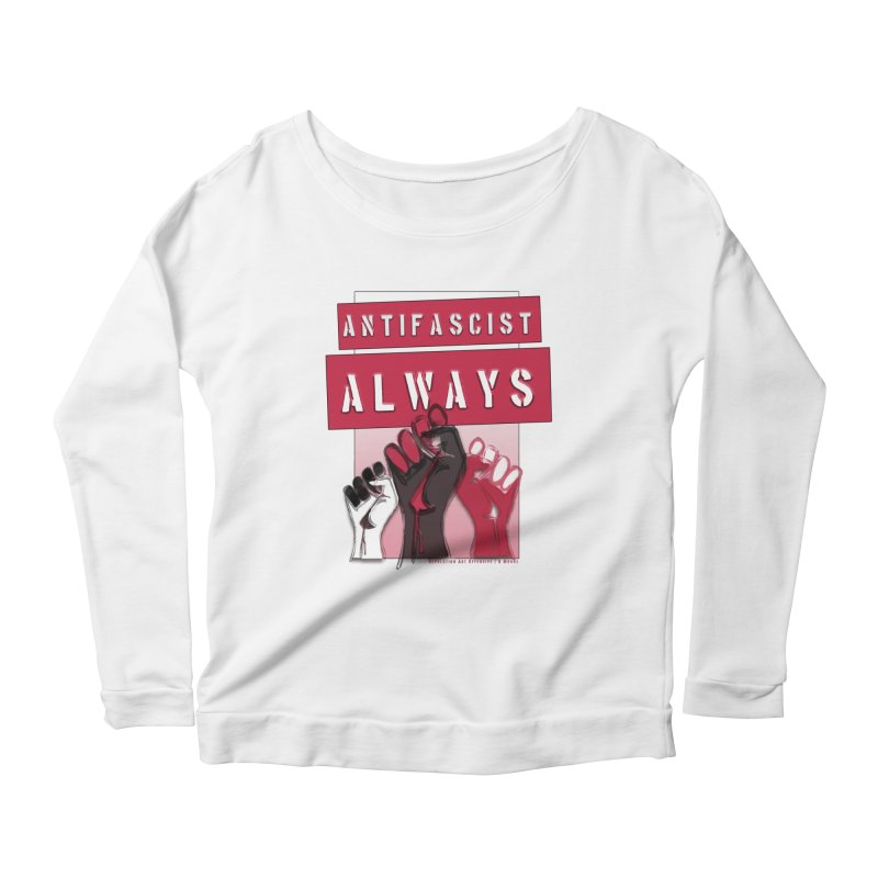 Antifascist Always Red English Women's Longsleeve Scoopneck  by Revolution Art Offensive