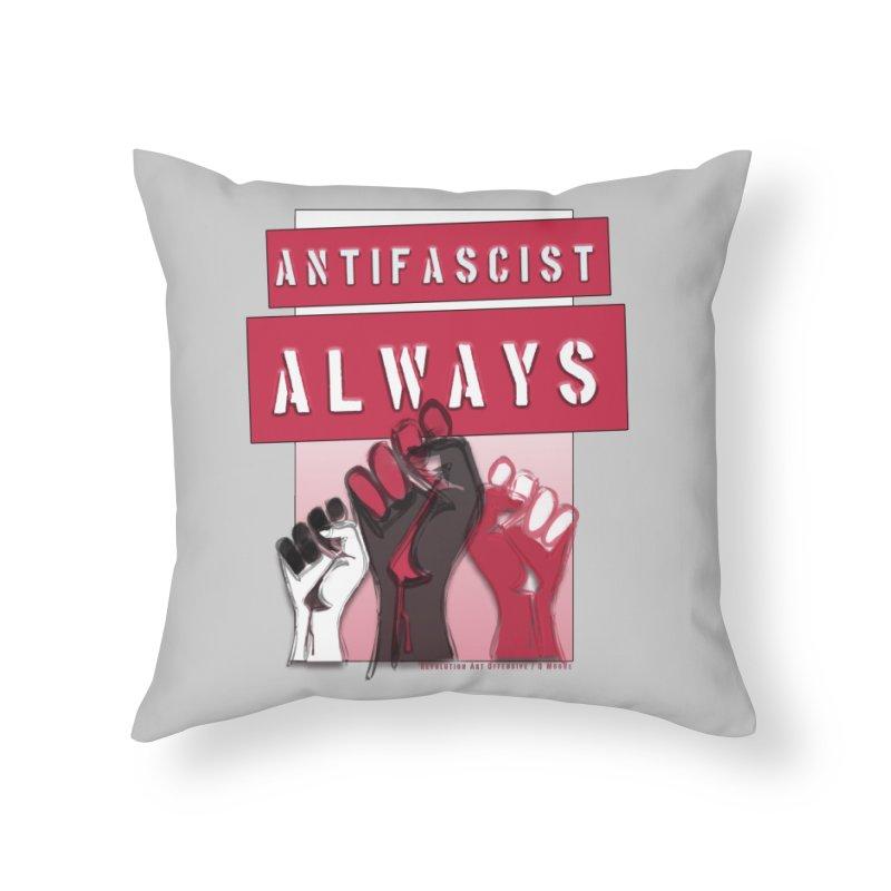 Antifascist Always Red English Home Throw Pillow by Revolution Art Offensive