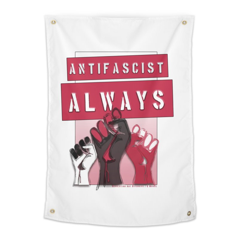 Antifascist Always Red English Home Tapestry by Revolution Art Offensive