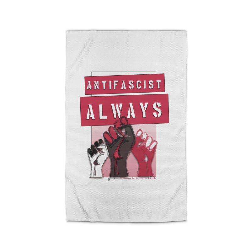 Antifascist Always Red English Home Rug by Revolution Art Offensive