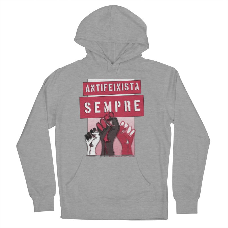 Antifeixista Sempre Catalán: Red Men's French Terry Pullover Hoody by Revolution Art Offensive