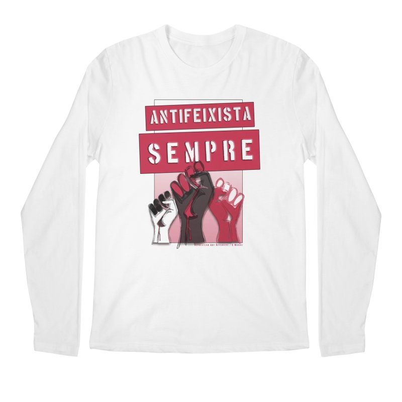 Antifeixista Sempre Catalán: Red Men's Regular Longsleeve T-Shirt by Revolution Art Offensive