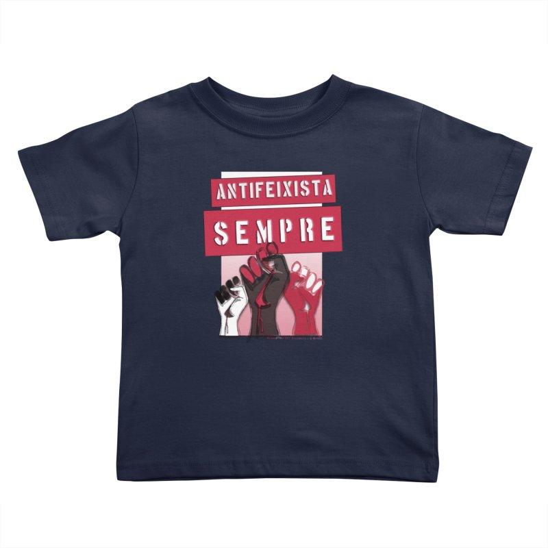 Antifeixista Sempre Catalán: Red Kids Toddler T-Shirt by Revolution Art Offensive