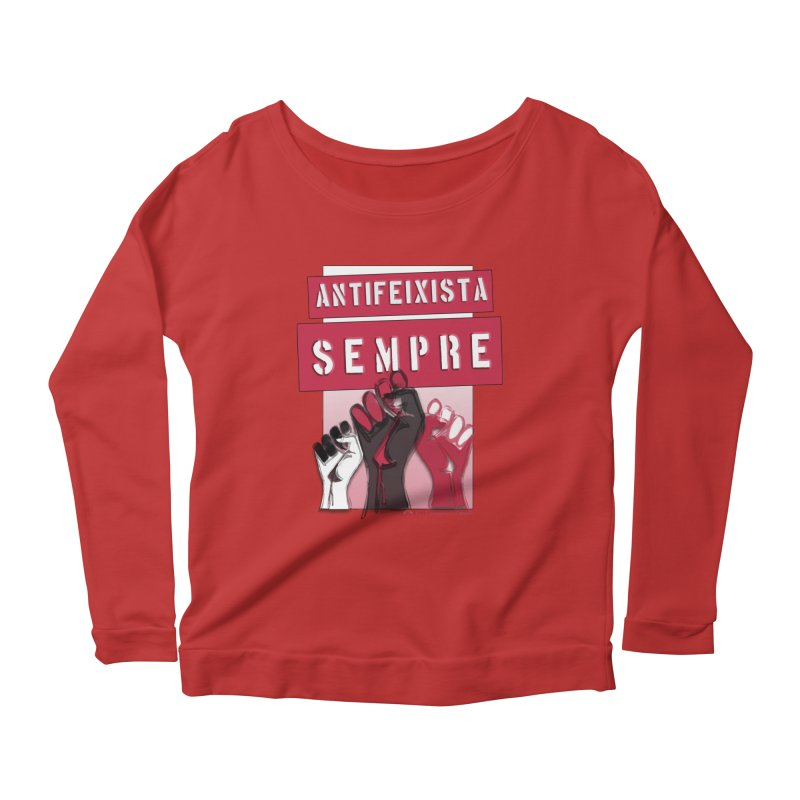 Antifeixista Sempre Catalán: Red Women's Longsleeve Scoopneck  by Revolution Art Offensive
