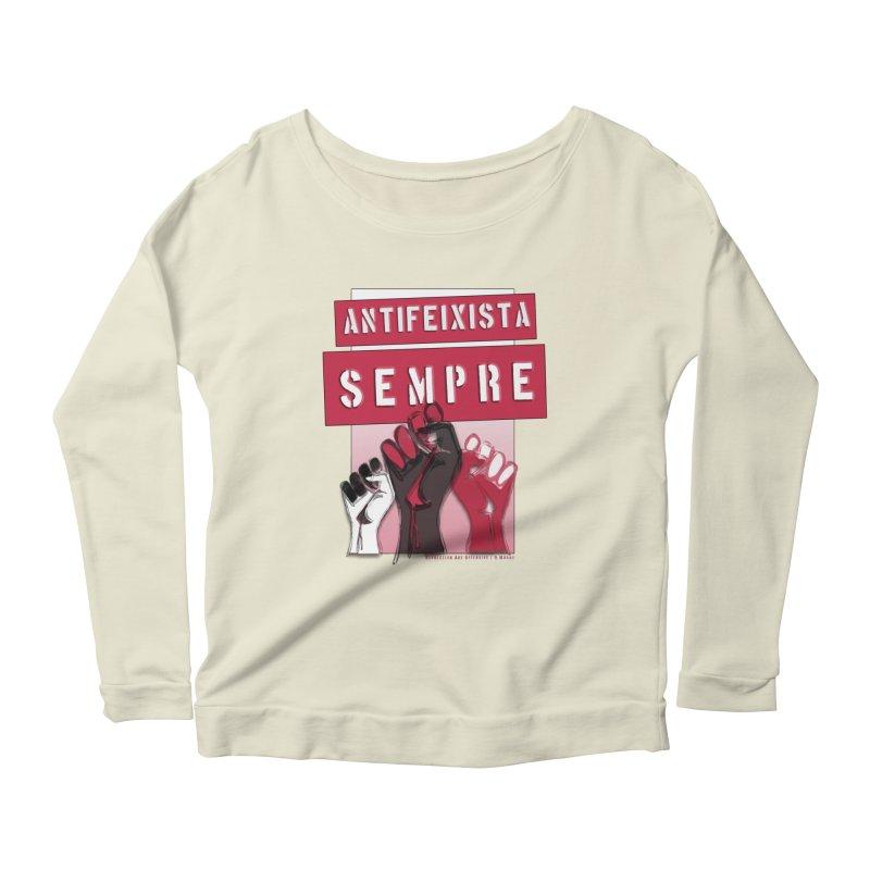 Antifeixista Sempre Catalán: Red Women's Scoop Neck Longsleeve T-Shirt by Revolution Art Offensive