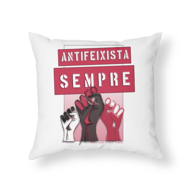 Antifeixista Sempre Catalán: Red Home Throw Pillow by Revolution Art Offensive
