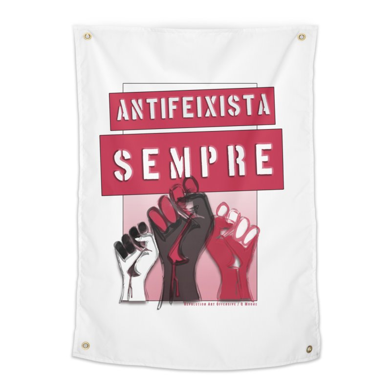 Antifeixista Sempre Catalán: Red Home Tapestry by Revolution Art Offensive