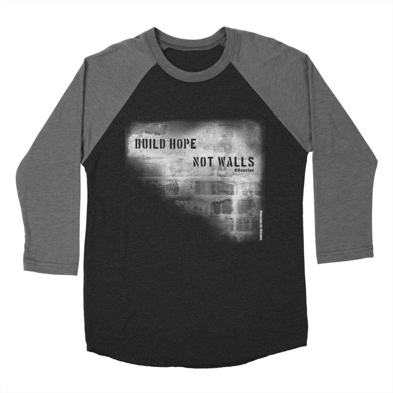 Build Hope Not Walls White Houston Men's Baseball Triblend T-Shirt by Revolution Art Offensive