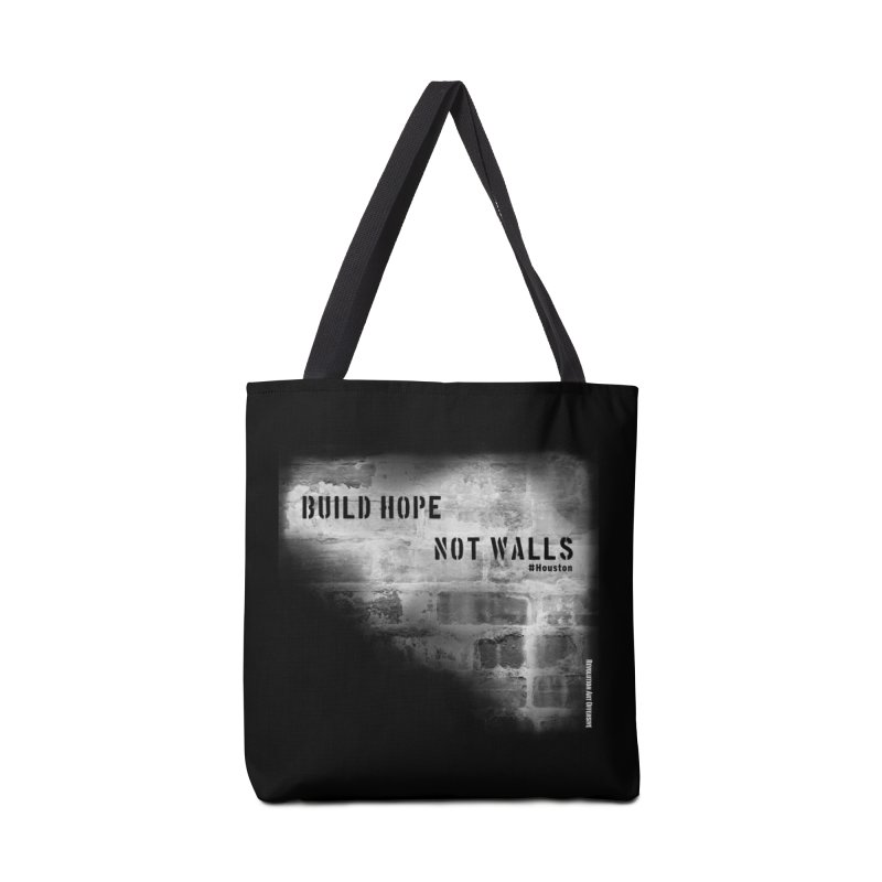 Build Hope Not Walls White Houston Accessories Bag by Revolution Art Offensive