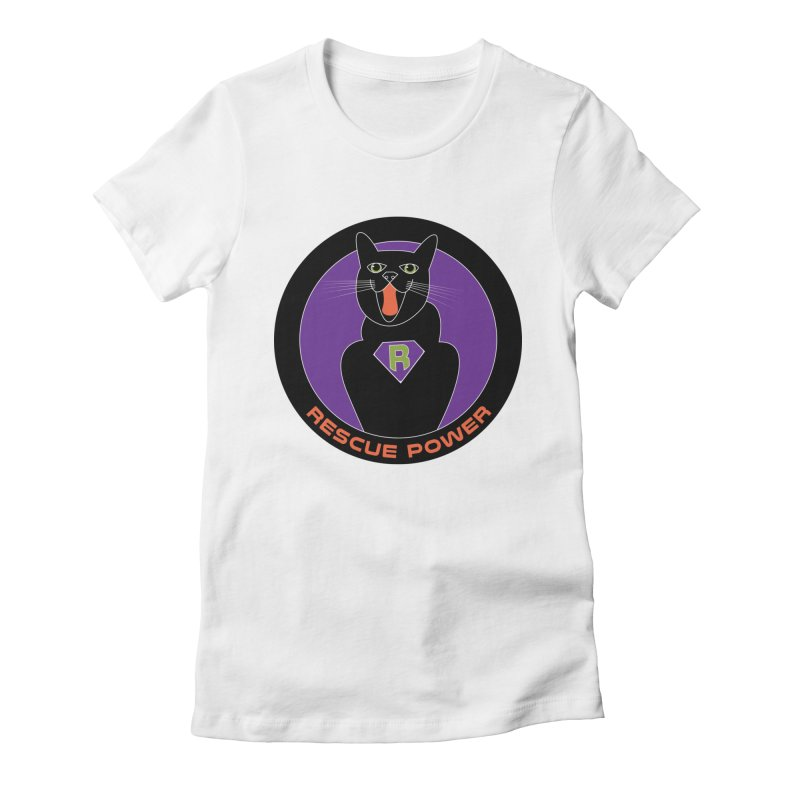 Rescue Power ACTIVATE Cat Houston Hurricane Women's Fitted T-Shirt by Revolution Art Offensive