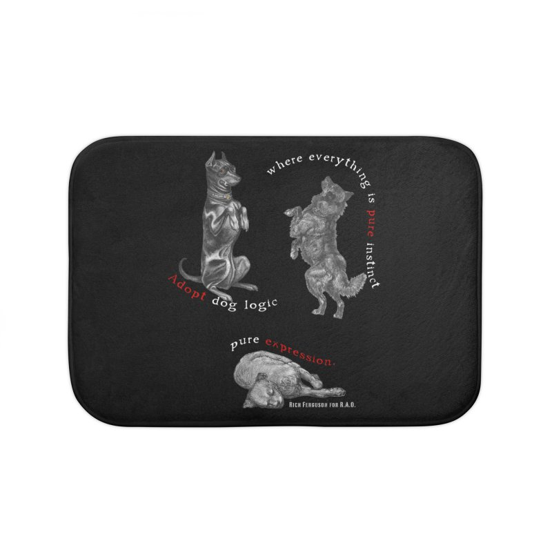 Dog Logic White Text Houston Hurricane Animal Rescue Home Bath Mat by Revolution Art Offensive