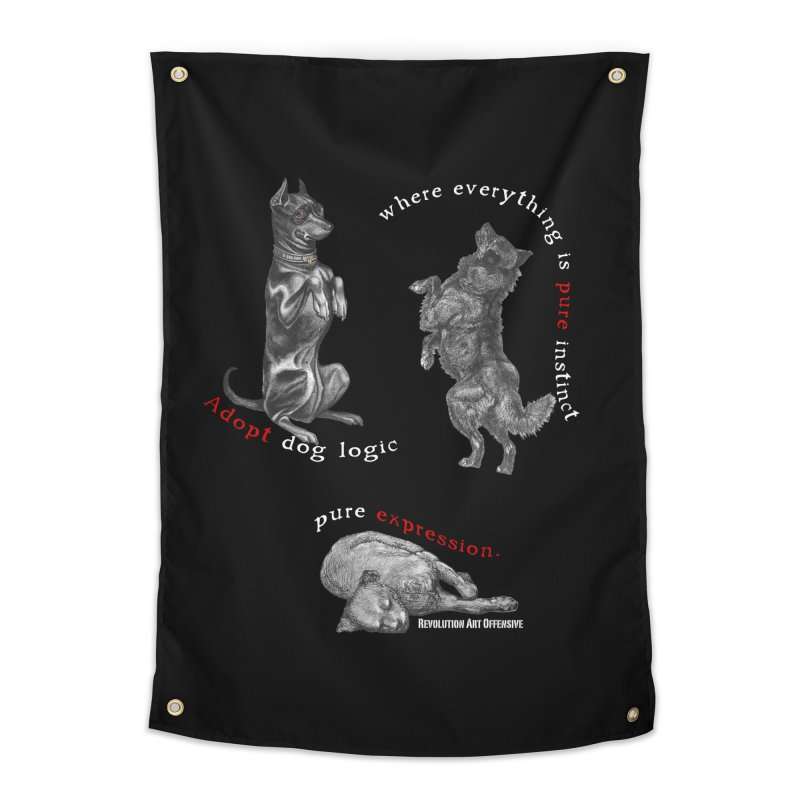 Dog Logic White Text Houston Hurricane Animal Rescue Home Tapestry by Revolution Art Offensive