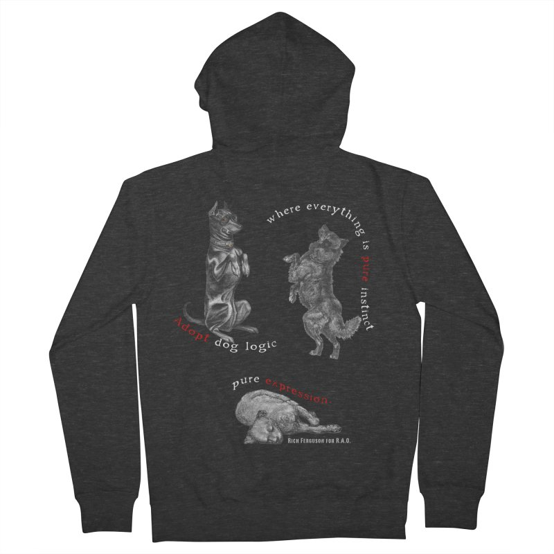 Dog Logic White Text Houston Hurricane Animal Rescue Men's Zip-Up Hoody by Revolution Art Offensive