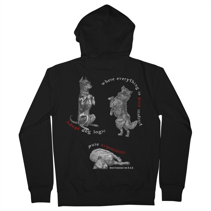 Dog Logic White Text Houston Hurricane Animal Rescue Men's French Terry Zip-Up Hoody by Revolution Art Offensive
