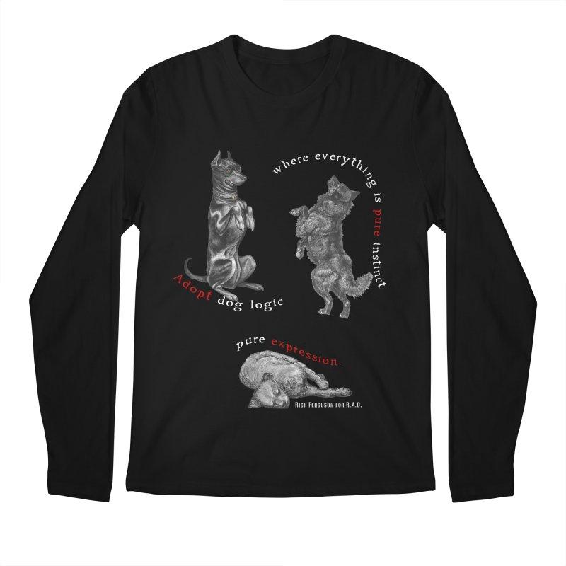 Dog Logic White Text Houston Hurricane Animal Rescue Men's Longsleeve T-Shirt by Revolution Art Offensive