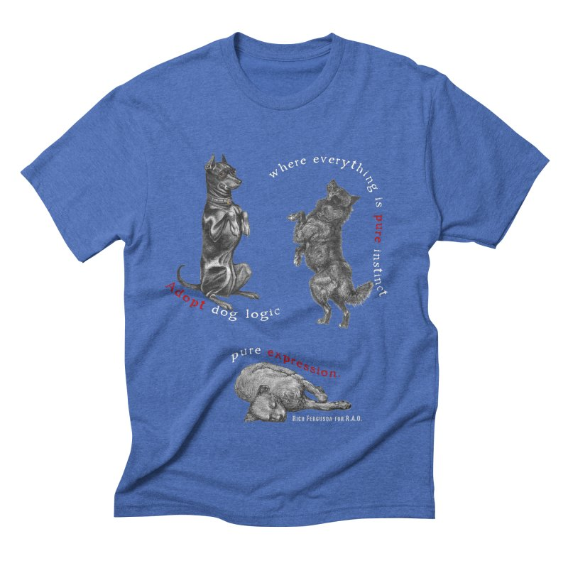 Dog Logic White Text Houston Hurricane Animal Rescue Men's Triblend T-Shirt by Revolution Art Offensive