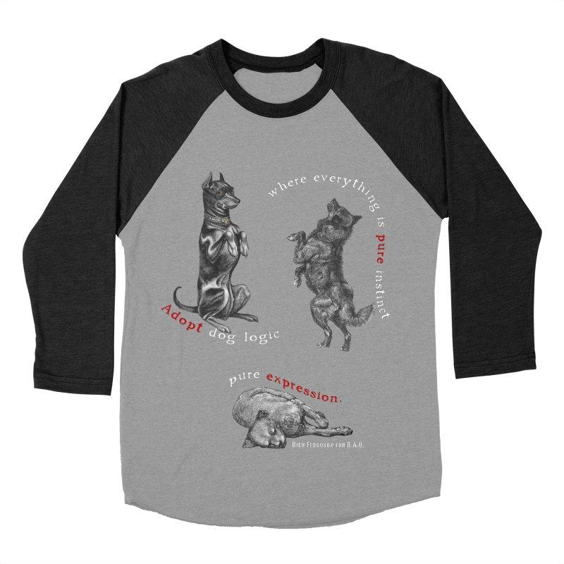 Dog Logic White Text Houston Hurricane Animal Rescue Women's Baseball Triblend T-Shirt by Revolution Art Offensive