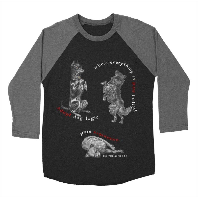 Dog Logic White Text Houston Hurricane Animal Rescue Men's Baseball Triblend Longsleeve T-Shirt by Revolution Art Offensive