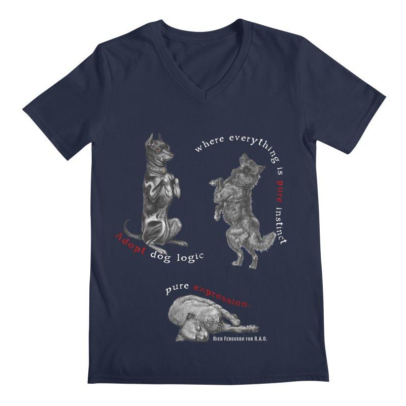 Dog Logic White Text Houston Hurricane Animal Rescue Men's V-Neck by Revolution Art Offensive