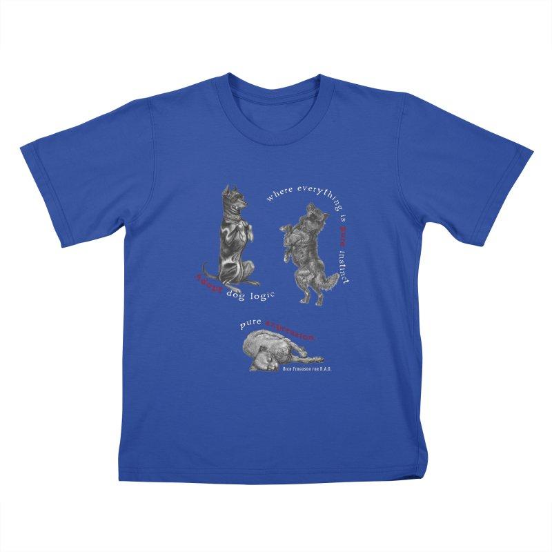 Dog Logic White Text Houston Hurricane Animal Rescue Kids T-Shirt by Revolution Art Offensive