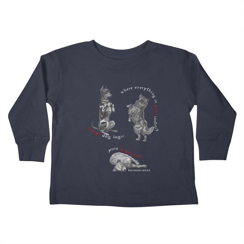 Dog Logic White Text Houston Hurricane Animal Rescue Kids Toddler Longsleeve T-Shirt by Revolution Art Offensive