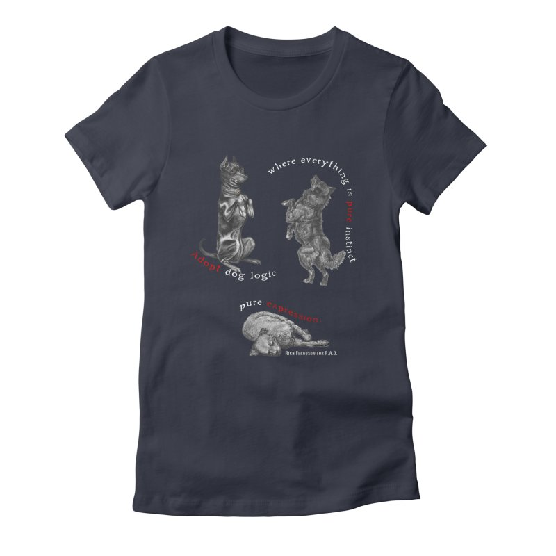 Dog Logic White Text Houston Hurricane Animal Rescue Women's Fitted T-Shirt by Revolution Art Offensive