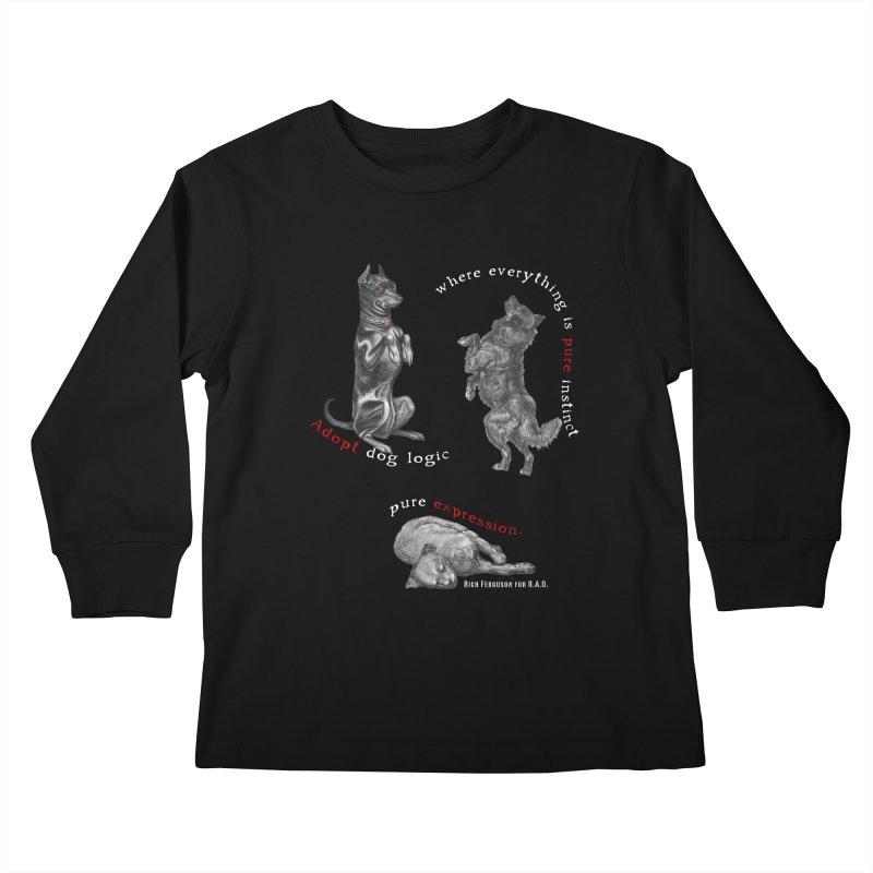 Dog Logic White Text Houston Hurricane Animal Rescue Kids Longsleeve T-Shirt by Revolution Art Offensive