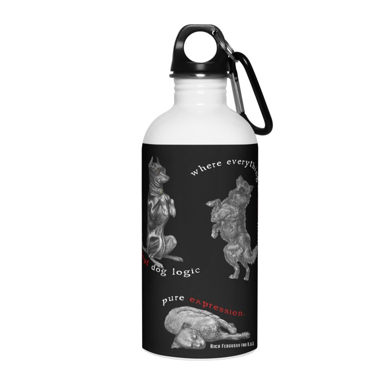 Dog Logic White Text Houston Hurricane Animal Rescue Accessories Water Bottle by Revolution Art Offensive