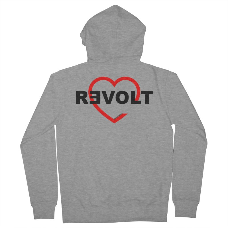 RevoltHeart Black Text  Women's Zip-Up Hoody by Revolution Art Offensive