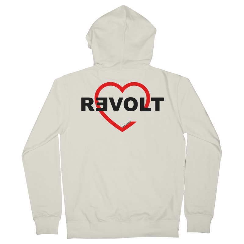 RevoltHeart Black Text  Women's French Terry Zip-Up Hoody by Revolution Art Offensive