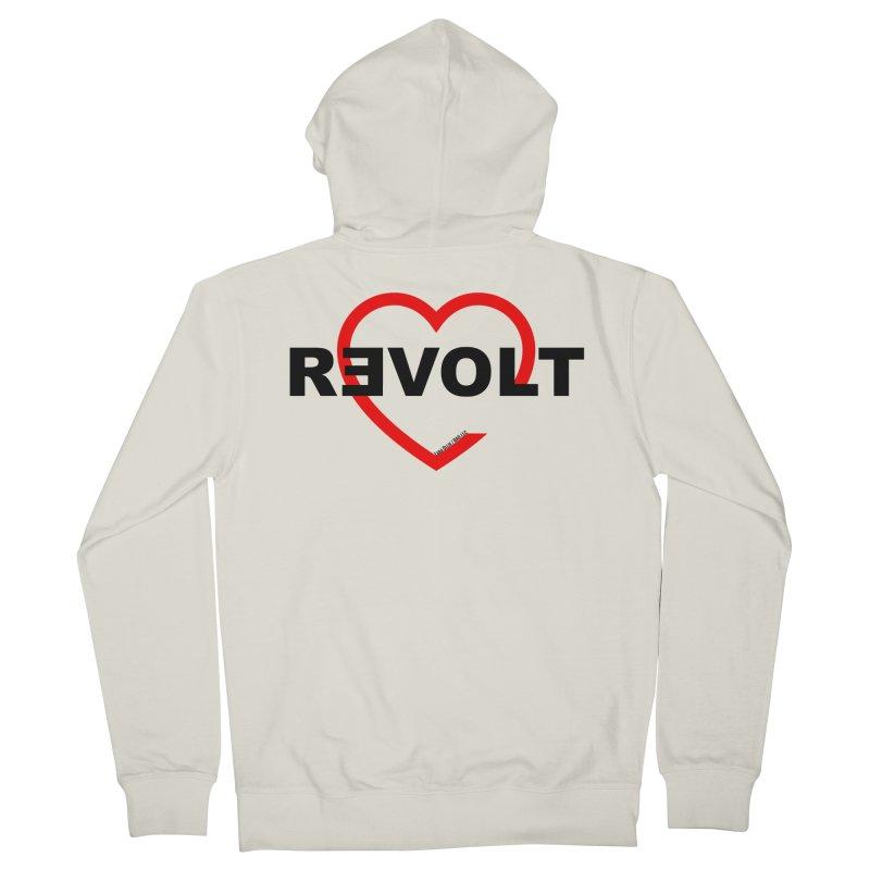 RevoltHeart Black Text  Women's Zip-Up Hoody by Revolution Art Offensive