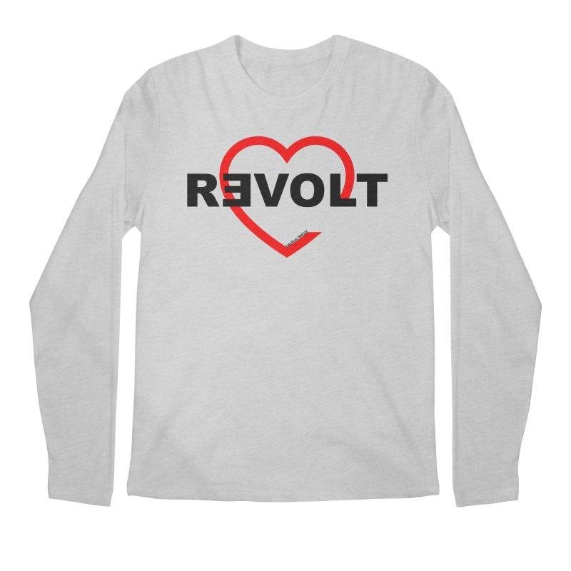 RevoltHeart Black Text  Men's Longsleeve T-Shirt by Revolution Art Offensive