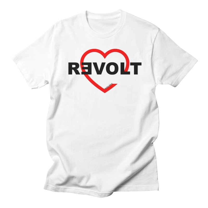 RevoltHeart Black Text  Men's T-shirt by Revolution Art Offensive
