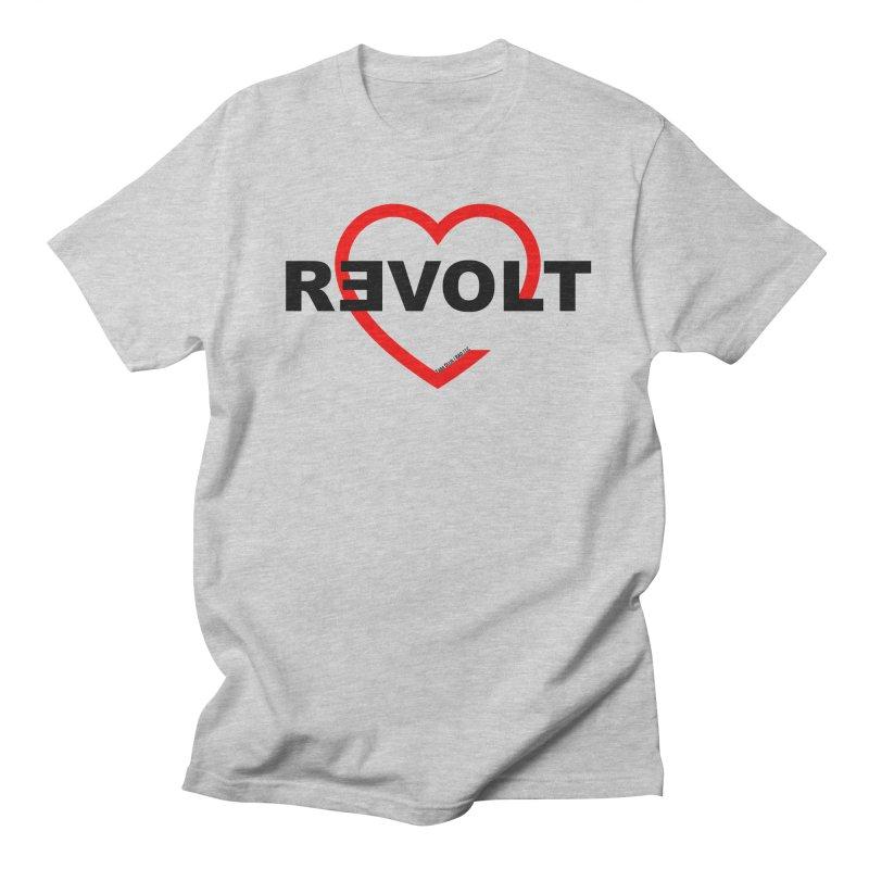 RevoltHeart Black Text  Men's Regular T-Shirt by Revolution Art Offensive