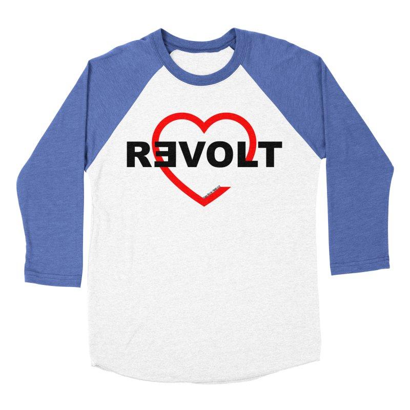 RevoltHeart Black Text  Women's Baseball Triblend T-Shirt by Revolution Art Offensive