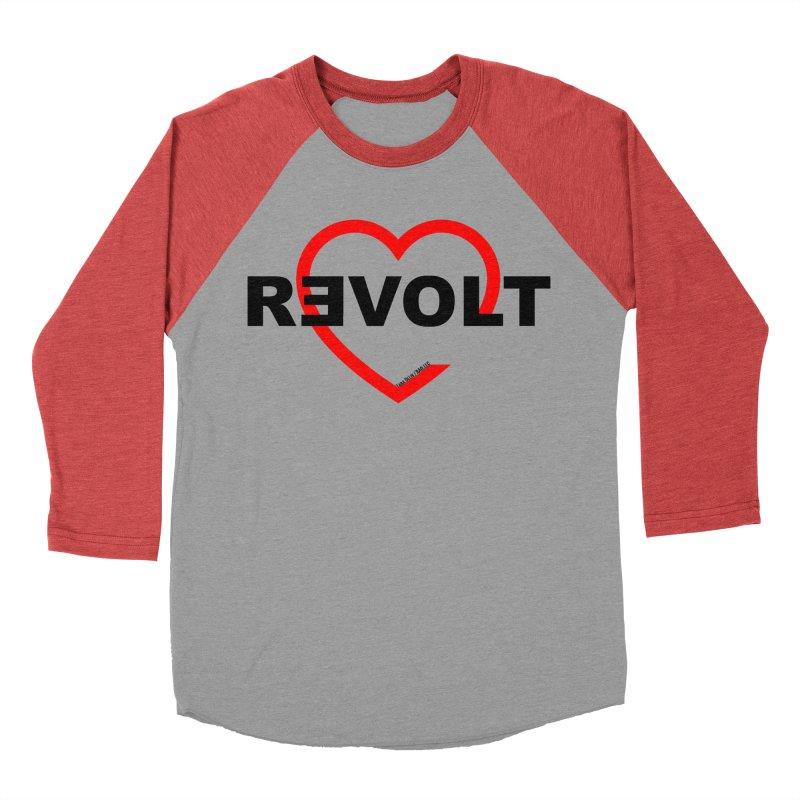 RevoltHeart Black Text  Women's Baseball Triblend Longsleeve T-Shirt by Revolution Art Offensive
