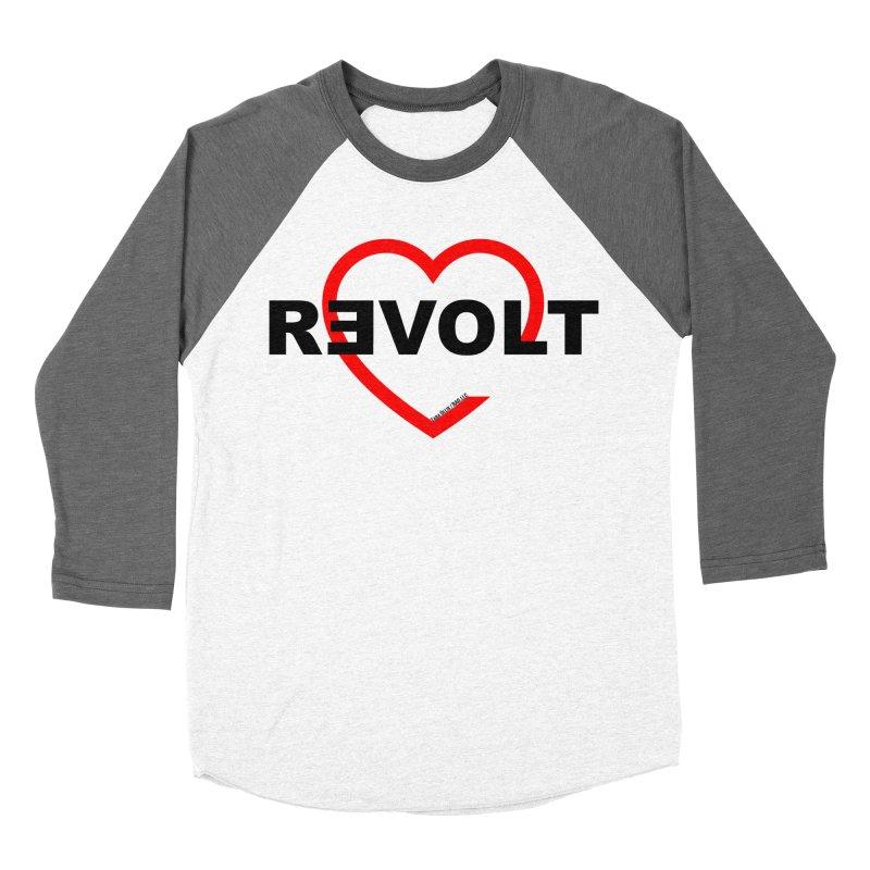 RevoltHeart Black Text  Men's Baseball Triblend Longsleeve T-Shirt by Revolution Art Offensive