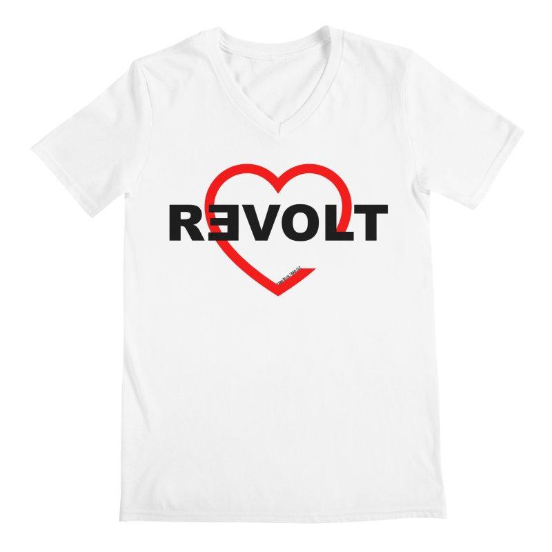 RevoltHeart Black Text  Men's V-Neck by Revolution Art Offensive