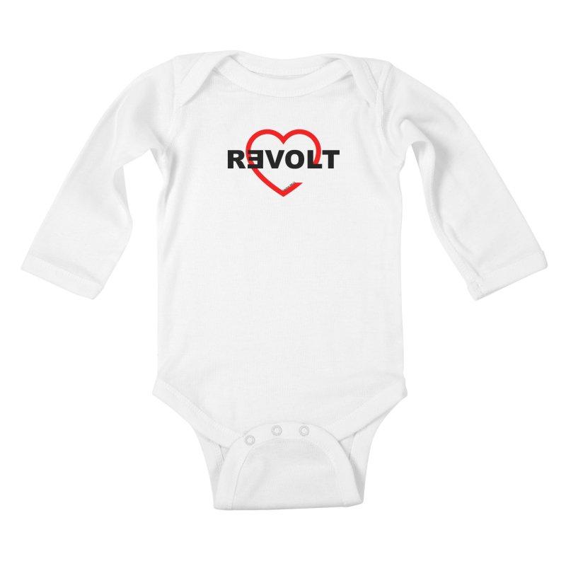 RevoltHeart Black Text  Kids Baby Longsleeve Bodysuit by Revolution Art Offensive