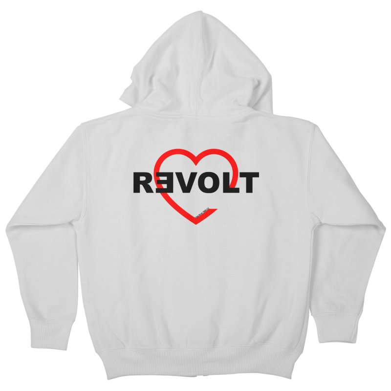 RevoltHeart Black Text  Kids Zip-Up Hoody by Revolution Art Offensive